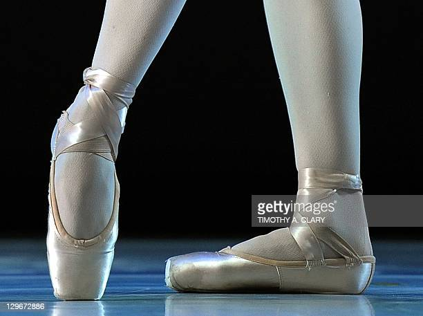 The feet of a Dancer with the Suzanne Farrell Ballet before she performs a scene from 'Haieff Divertimento' during a dress rehearsal before the...