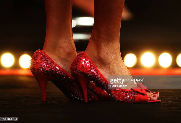 The feet of a glamour girl are seen on the stage prior to the first round match between Peter Manley of England and Mensur Suljovic of Austria during...