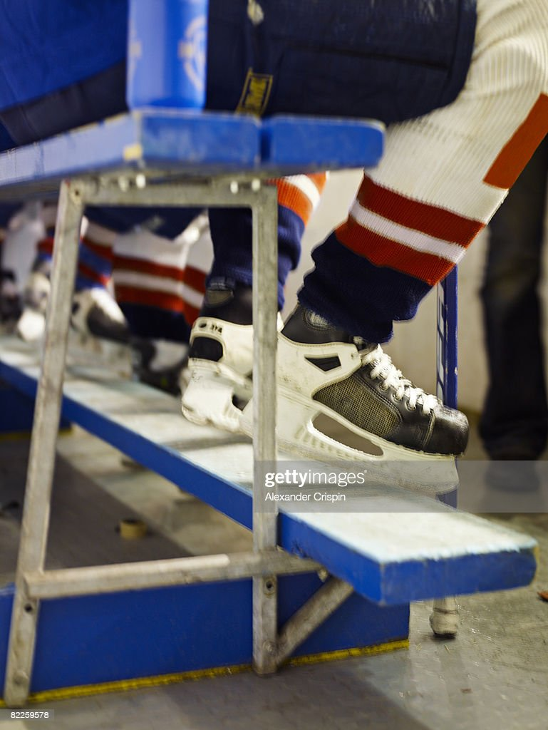 The feet of a ice hockey player. : Stock Photo