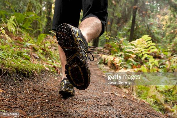 the feet of a man trail running along a wet muddy trail in the olympic national park. - cross country running stock pictures, royalty-free photos & images