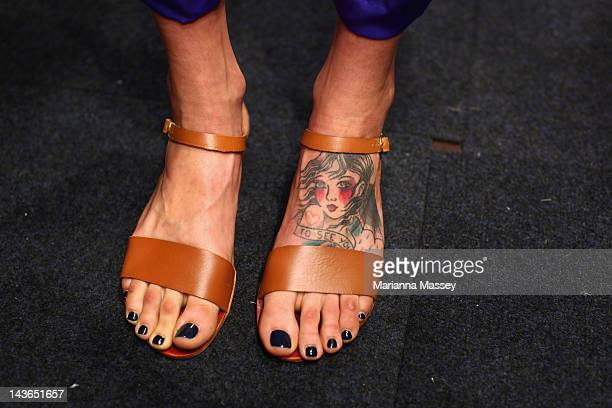 The feet of a model are seen backstage ahead of the Oroton show on day three of MercedesBenz Fashion Week Australia Spring/Summer 2012/13 at Overseas...