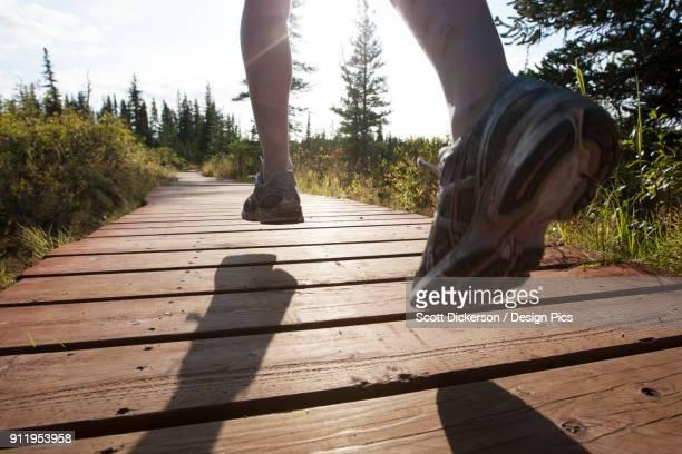 the feet of a runner over a wooden boardwalk through a forest - home run ストックフォトと画像