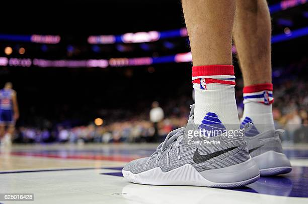 The feet of Dario Saric of the Philadelphia 76ers are shown against the Phoenix Suns during the first quarter at the Wells Fargo Center on November...