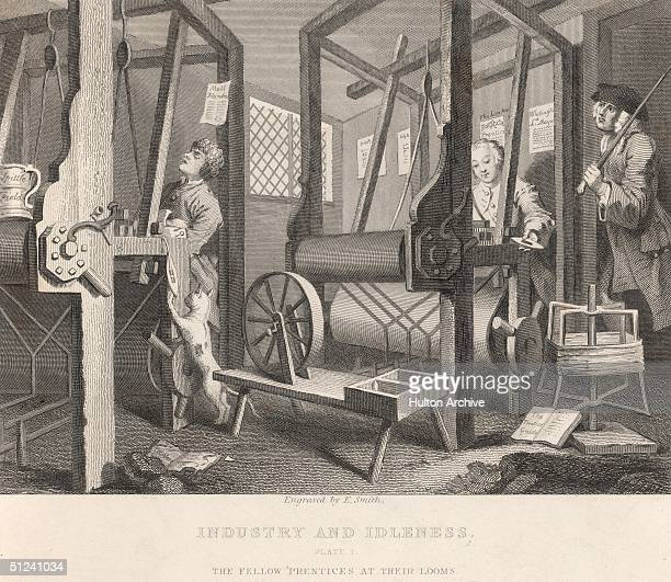 1747 The Fellow 'Prentices at their Looms' at Spitalfields in London Two apprentices one working hard according to the rules the other asleep at his...