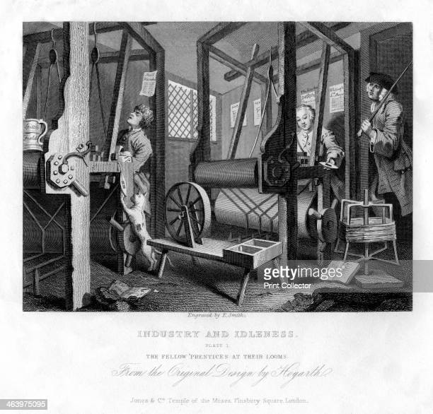 'The fellow 'prentices at their looms' plate I of 'Industry and Idleness' 1833 Early 19th century version of a scene from Hogarth's series of 1747 a...