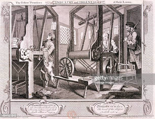 'The fellow 'prentices at their looms' plate I of Industry and Idleness 1747 the scene is a Spitalfields silkweaving shop London The industrious...