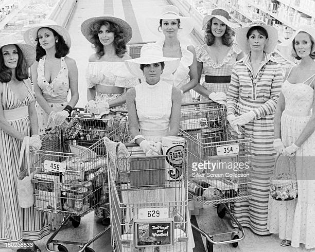 The female cast in a publicity still for 'The Stepford Wives' directed by Bryan Forbes 1975 Left to right Toni Reid Carole Mallory Tina Louise...