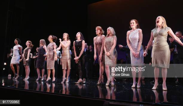 The Female Ensemble take the curtain call at the 'Thoroughly Modern Millie' 15th Anniversary Reunion Concert at The Minskoff Theater on February 12...