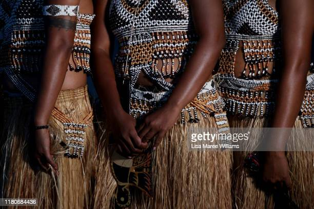 The female traditional dance group 'Faeni' who are part of the Solomon Islands Cultural Group wear handmade traditional costumes during a final...