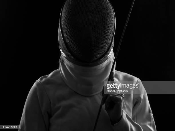 the fencer - face guard sport stock pictures, royalty-free photos & images