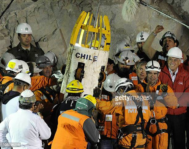 The Fenix 2 capsule is brought to the surface with the last trapped Chilean miner Luis Urzua from the San Jose mine near Copiapo Chile on October 13...