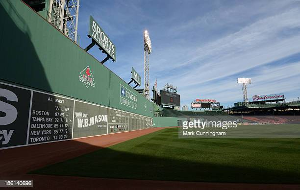 The Fenway Park green monster is shown during workouts prior to the American League Championship Series between the Detroit Tigers and the Boston Red...