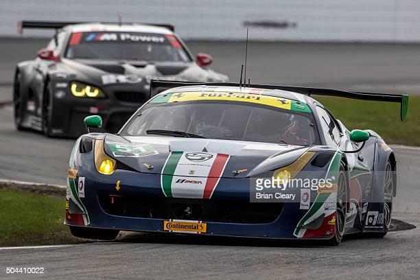 The Ferarri of Peter Mann Raffaele Giammaria Matteo Cressoni and Marco Cioci drives on the track during the Roar Before the 24 IMSA WeatherTech...