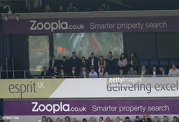 The Ferguson family watch Sir Alex Ferguson the head coach / manager of Manchester United on his last match