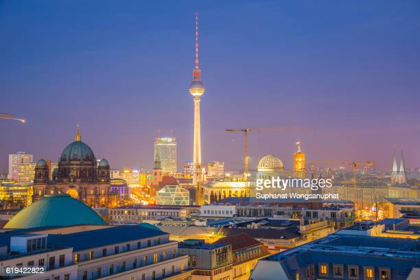 The Fernsehturm with blue sky sunset - famous landmark in Berlin, Germany, Europe