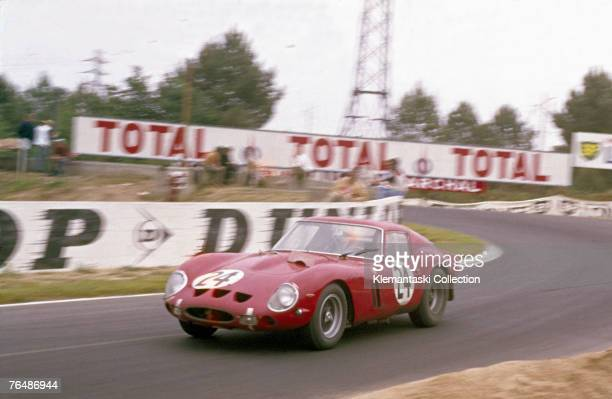 The Ferrari 250 GTO driven by Jean Blaton and Langlois von Ophem exiting Mulsanne Corner during the 25 Hours of Le Mans race Le Mans June 1963 The...