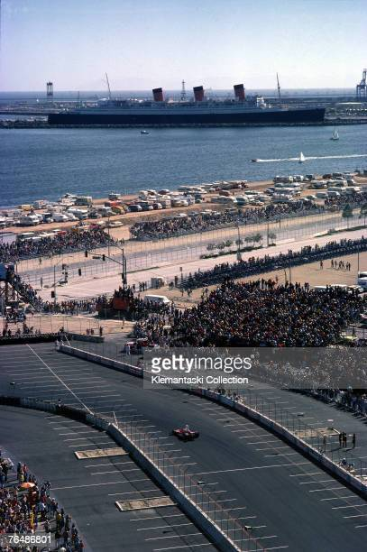The Ferrari 312T of Clay Regazzoni and the liner 'Queen Mary' in the background during the United States West Grand Prix at Long Beach 28th March...