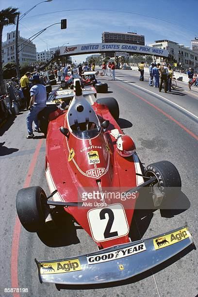 The Ferrari 312T of race winner Clay Regazzoni in pit lane before the first United States Grand Prix West held on March 28 1976 in Long Beach...