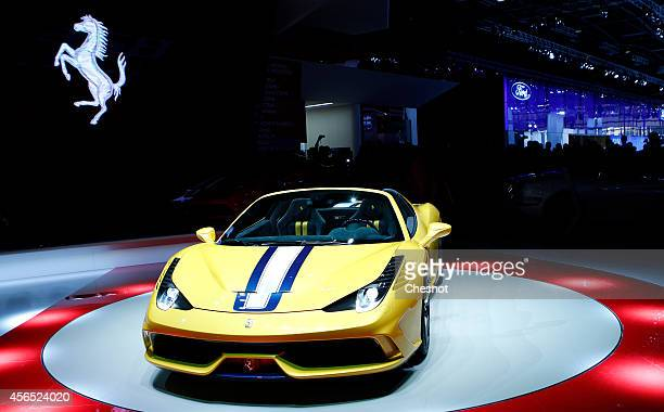 The Ferrari 458 Speciale A is presented during the press day of the Paris Motor Show on October 02 in Paris France The Paris Motor Show will showcase...