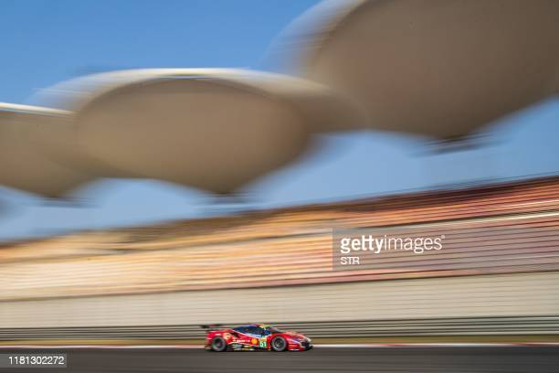 The Ferrari 488 GTE EVO of James Calado of Britain and Allesandro Pier Guidi of Italy is seen during the FIA World Endurance Championship 4 Hours of...