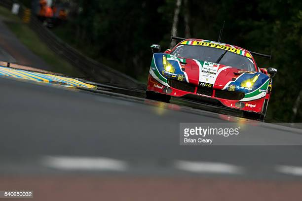 The Ferrari 488 GTE of Gianmaria Bruni of Italy James Calado of Great Britain and Alessandro Pier Guidi of Italy races on the track during opening...