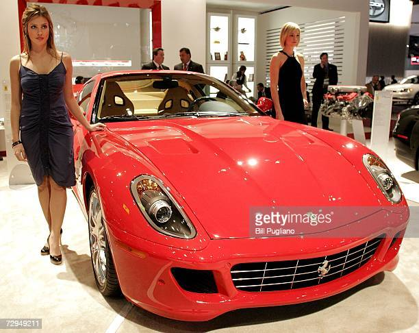 The Ferrari 599 GTB Fiorano sits on display at the Ferrari exhibit at the 2007 North American International Auto Show January 8 2007 in Detroit...