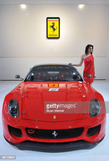 The Ferrari 599XX displayed during the press preview for the world automotive media at the North American International Auto Show at the Cobo Center...