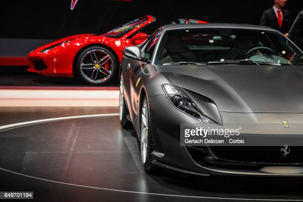 The Ferrari 812 Superfast on display during the second press day of the Geneva Motor Show 2017 at the Geneva Palexpo on March 8 2017 in Geneva...