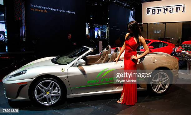 The Ferrari F430 Spider Bio Fuel Concept car is displayed during the press preview days at the North American International Auto show at Cobo Center...