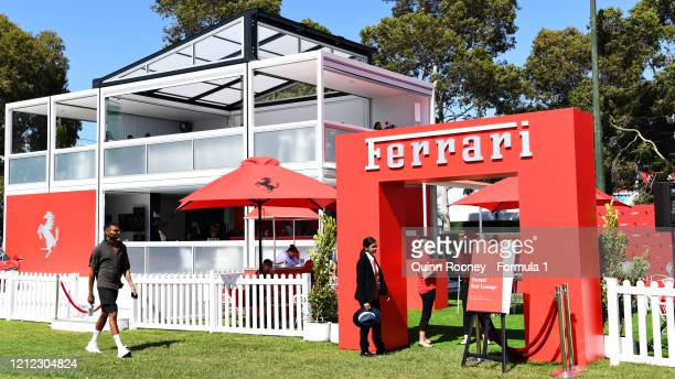 The Ferrari fan area is seen during previews ahead of the F1 Grand Prix of Australia at Melbourne Grand Prix Circuit on March 12 2020 in Melbourne...
