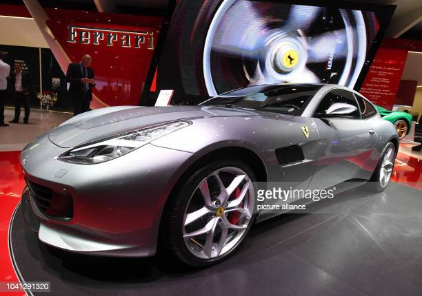 The Ferrari 'GTC4 Lusso T' is presented on the second press day of the Paris Motor Show in Paris France 30 September 2016 The fair that takes place...
