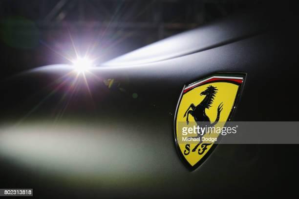 The Ferrari logo is seen on the new Ferrari 812 Superfast at the Australasian Premiere on June 28, 2017 in Melbourne, Australia. The 812 Superfast is...
