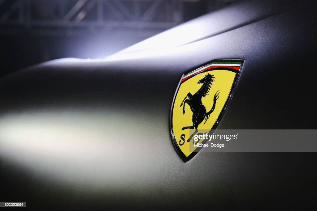 The Ferrari logo is seen on the new Ferrari 812 Superfast at the Australasian Premiere on June 28, 2017 in Melbourne, Australia. The 812 Superfast is the most powerful and fastest Ferrari in the carmakers history, reaching 0-100 km/h in just 2.9 seconds.