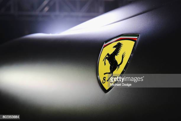 The Ferrari logo is seen on the new Ferrari 812 Superfast at the Australasian Premiere on June 28 2017 in Melbourne Australia The 812 Superfast is...