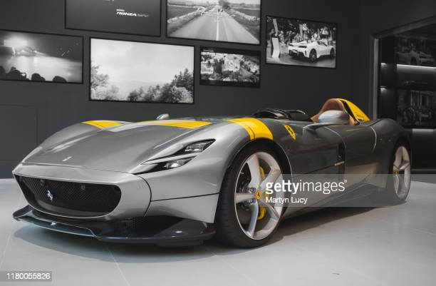 The Ferrari Monza SP1 at H.R Owen in Mayfair, London. The cars design is inspired by the 750 Monza, 250 Testarossa and 166 MM. Most notably, the SP1...