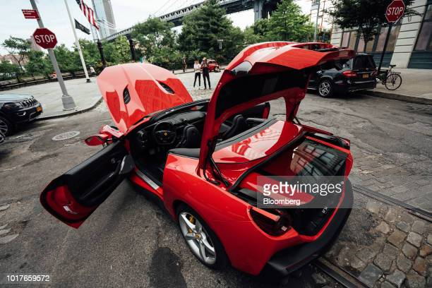 The 39liter V8 engine is seen in the Ferrari Portofino vehicle in New York US on Thursday Aug 16 2018 The Portofino is the replacement to the humble...