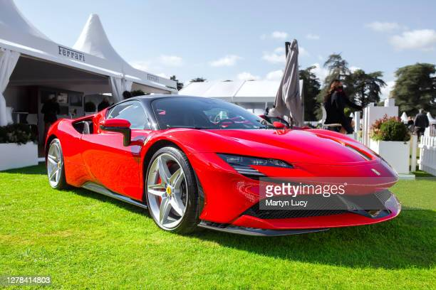 The Ferrari SF90 Stradale seen at Salon Prive, held at Blenheim Palace. Each year some of the rarest cars are displayed on the lawns of the palace,...