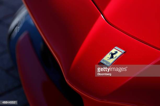 The Ferrari SpA logo is seen on the hood of a LaFerrari vehicle at the Chrysler Group LLC headquarters in Auburn Hills Michigan US on Tuesday May 6...
