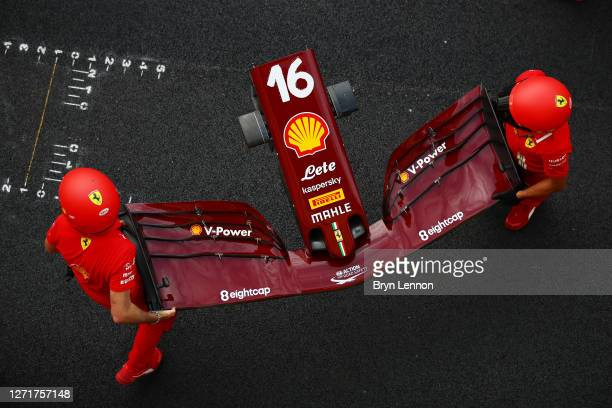 The Ferrari team practice pitstops during previews ahead of the F1 Grand Prix of Tuscany at Mugello Circuit on September 10, 2020 in Scarperia, Italy.
