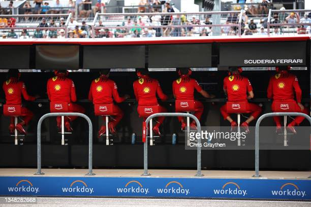 The Ferrari team work on the pitwall during final practice ahead of the F1 Grand Prix of USA at Circuit of The Americas on October 23, 2021 in...