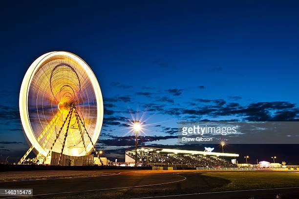 The Ferris Wheel and spectator grandstand during practice for the 80th running of the Le Mans 24 Hour race at the Circuit des 24 Heures du Mans on...