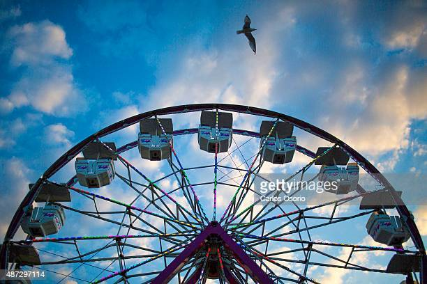 The Ferris wheel at the CNE is seen during sunset