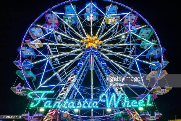 The Ferris wheel in operation, on the first day of opening of the Luna Park in Molfetta on 4 September 2021. On the occasion of the Patronal Feast of...