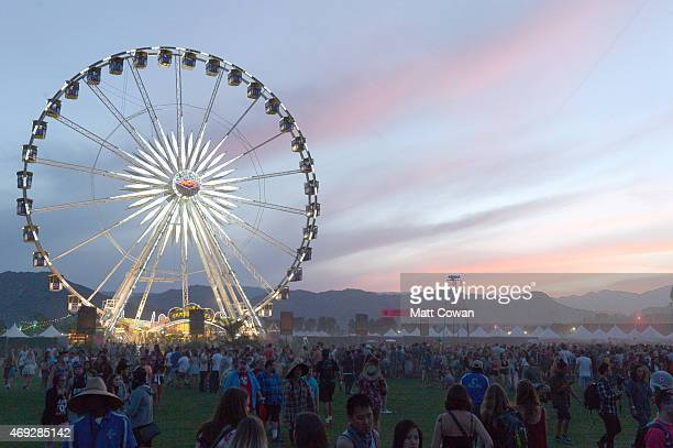 The Ferris wheel is seen after sunset during day 1 of the 2015 Coachella Valley Music Arts Festival at the Empire Polo Club on April 10 2015 in Indio...