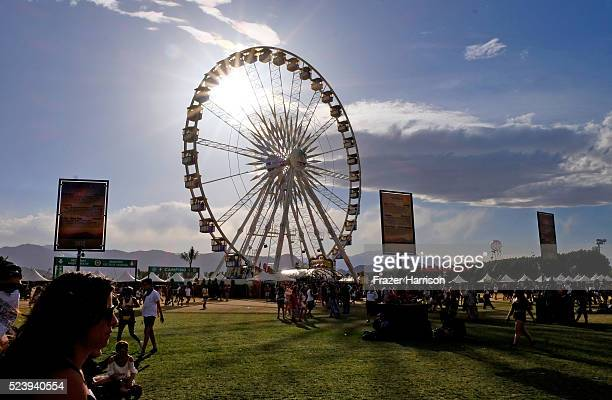 The ferris wheel is seen during day 3 of the 2016 Coachella Valley Music Arts Festival Weekend 2 at the Empire Polo Club on April 24 2016 in Indio...