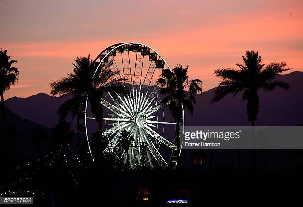 The ferris wheel is seen during sunset at 2016 Stagecoach California's Country Music Festival at Empire Polo Club on April 29 2016 in Indio California