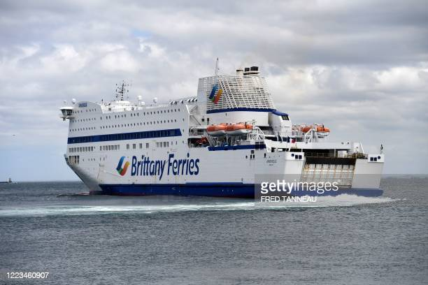 """The ferry """"Armorique"""" of Brittany Ferries company leaves the port of Roscoff, western France, on June 29, 2020. - Brittany Ferries resumes links..."""
