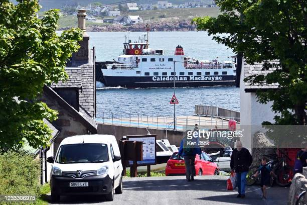 The ferry to Mull leaves the slipway on Iona, on June 6, 2021 in Iona, Scotland. The Scottish Government has this week moved most Scottish islands...