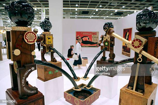 The Fertility of Capitalism, a sculpture by Chinese artist Wang Mai, at the Art Cologne, Europe's second-biggest contemporary art fair, in Cologne,...