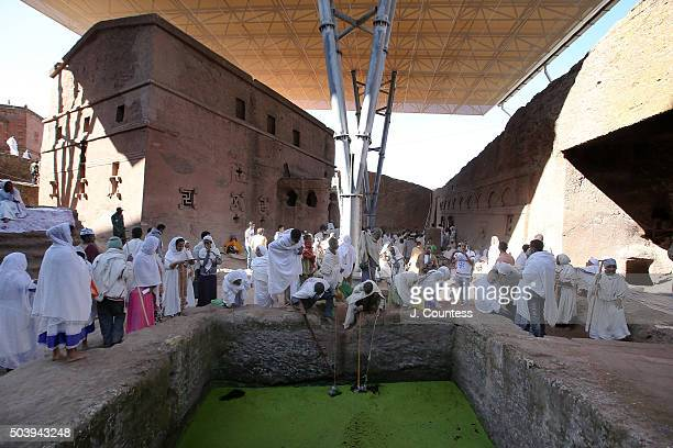 The Fertility Pool at Beta Mariam Church on January 7 2016 in Lalibela Ethiopia The pool contains blessed waters that are said to bring fertility to...